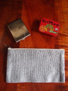 "Grey Recycled Canvas Flat Zipper Pouch  9"" - 9.25""W x 5"""