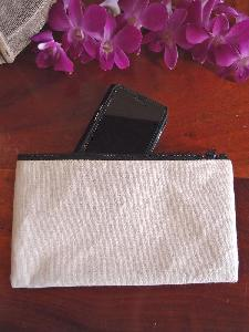 "Canvas Flat Zipper Pouch Large  - 9.25""W x 5"""