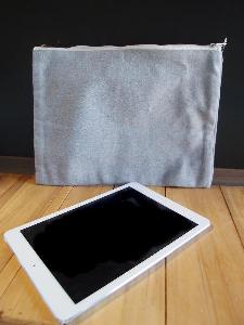 "Grey Recycled Canvas Zipper Pouch 13 x9.5 - 13""W x 9.5 ""H"