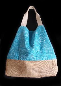 "Light Blue Washed Canvas Tote with Burlap - 14""W x 16""H x 5 ½""D"