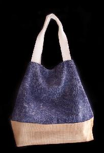 "Navy Blue Washed Canvas Tote with Burlap - 14""W x 16""H x 5 ½""D"