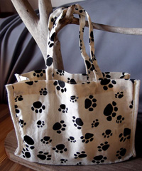"Paw Print Cotton Bags - 7"" x 6"" x 2.75"""
