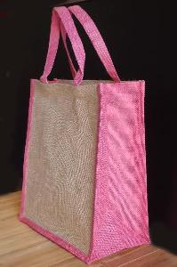 "Jute Tote with Pink Trim - 12"" x 14"" x 7"""