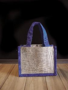 "Jute Tote with Navy Blue Trim - 8"" x 6"" x 4"""
