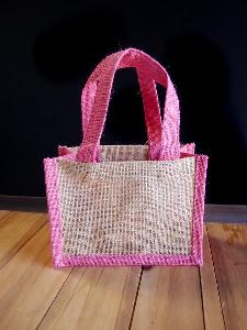 "Jute Tote with Pink Trim - 8"" x 6"" x 4"""