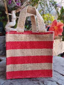 "Jute Plant Tote with Red Stripes - 6""W x 6""H x 6"""