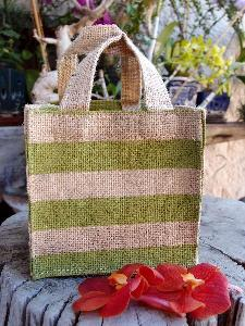 "Jute Plant Tote with Green Stripes - 6""W x 6""H x 6"""