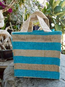 "Jute Plant Tote with Blue Stripes - 6""W x 6""H x 6"""