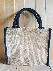 "Jute Tote with Black Cotton Trim - 10.25"" x 9"" x 3"""
