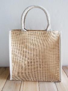 "Burlap Tote with White Cotton Trim - 12"" x 12"" x 7.75"""