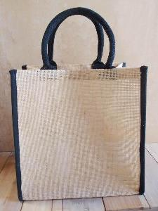 "Burlap Tote with Black Cotton Trim - 12"" x 12"" x 7.75"""
