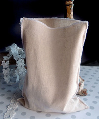 "Linen Pouch with White Serged Edge - 7 3/4"" x 10"""