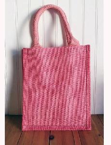 "Pink Jute Shopping Tote  - 9"" W x 11"" H x 4"" D"