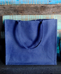 "Blue Burlap Euro Shopping Tote - 15.5"" x 13.75"" x 6"""