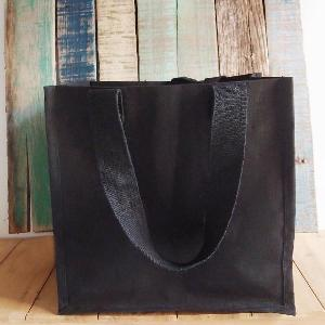 "Black Canvas Shopping Tote - 12""x12""x7 3/4"""