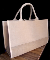 "Jute Cotton Blend Tote with Natural Cotton and Burlap Accents - 17 1/2""W x 11 1/2""H x 8 1/2""D"