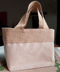 "Small Jute Cotton Blend Tote with Natural Burlap Accents - 11 1/2""W x 7 1/2""H x 4 1/2""D"