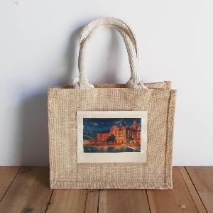 "Jute Blend Totes with White Handle & Picture Pocket   - 10""W x 8""H x 5""D"