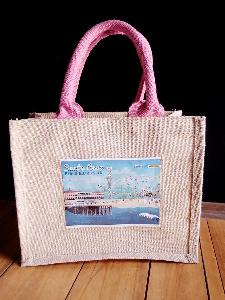 "Jute Blend Tote with Picture Pocket   - 10"" x 8"" x 5"""