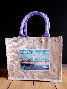 "Jute Blend Totes with Picture Pocket   - 10"" x 8"" x 5"""