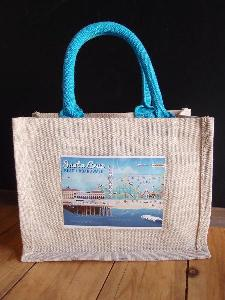 "Jute Blend Totes with Blue Trim & Picture Pocket   - 10"" x 8"" x 5"""