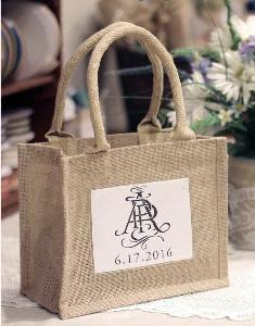 "Mini Burlap Tote with Window   - 10"" x 8"" x 5"""