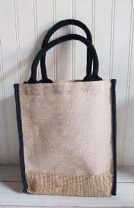 "Jute Cotton Blend Tote with Black Trim 9x11 - 9""W x 11""H x 4""D"