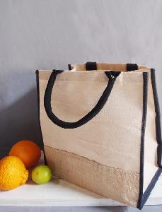 Jute Blend Tote with Black Trim 12 x12
