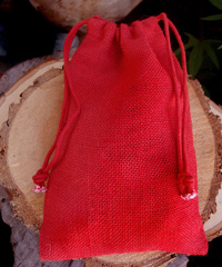 "Red Burlap Jute Bag - 6"" x 10"""