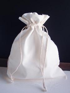 "White Cotton Bag 8x10 with Ivory Stitching - 8"" x 10"""