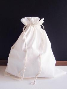 "White Cotton Bag 12x14 with Ivory Stitching - 12"" x 14"""