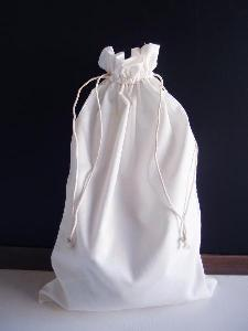 "White Cotton Bag 10x16 with Ivory Stitching - 10"" x 16"""