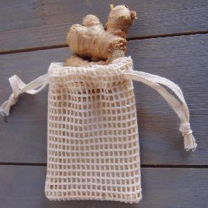 "Cotton Net Drawstring Bag with Fabric Backing 3x4 - 3"" x 4"""