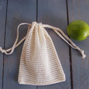 "Cotton Net Drawstring Bag with Fabric Backing 5x7 - 5"" x 7"""