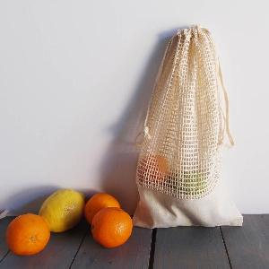 "Cotton Net Drawstring Bag with Fabric Trim Bottom 6.5x12 - 6.5"" x 12"""