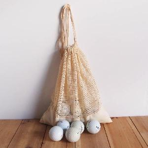 "Cotton Net Drawstring Bag with Fabric Trim Bottom 10x12 - 10"" x 12"""