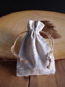"Linen Bag with Jute Cord - 3"" x 5"""