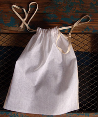 "Natural Muslin Bags with Ivory Serged Edge - 8"" x 10"""