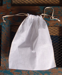 "Natural Muslin Bags with Ivory Serged Edge - 10"" x 12"""
