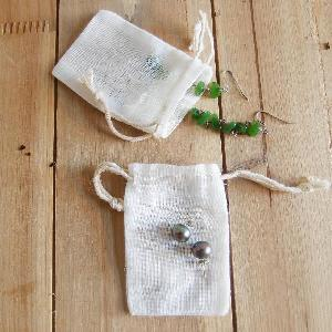 "Natural Muslin Bags with Drawcord 2x3 - 2"" x 3"""