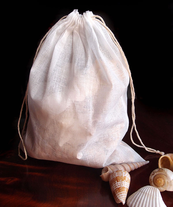 "Natural Muslin Bags with Cotton Drawstring - 8"" x 10"""