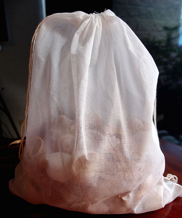 "Natural Muslin Bags with Cotton Drawstring - 12"" x 14"""