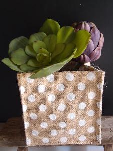 "Jute Square Holder with White Polka Dots - 6"" x 6"" x 6"""