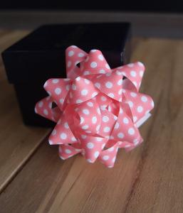 "Pink with White Dots  2"" Star Bows - 2"" Star Bows"