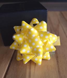 "Yellow & White Dots 2"" Star Bows - 2"" Star Bows"