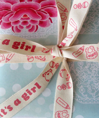 It's A Girl Pink Printed Baby Shower Cotton Ribbon