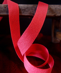 Red Linen/Cotton Blend Ribbon