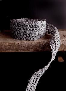 "Gray Cotton Crochet Lace - 1"" x 10Y"