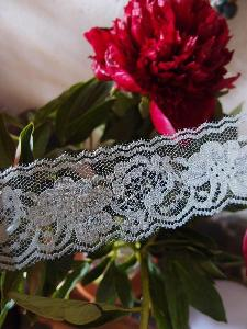 "Gray Chantilly Lace Ribbon   - 2"" x 25Y"