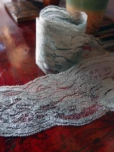 "Gray Chantilly Lace Ribbon - 4"" x 10Y"